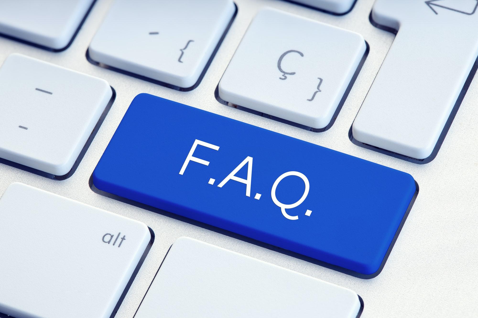 FAQ Word on blue Key